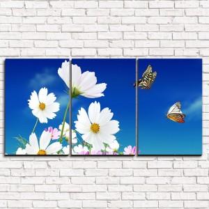 Модульная картина Цветы и бабочки 3-1