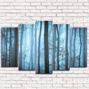 Модульная картина Туманные деревья 5-1