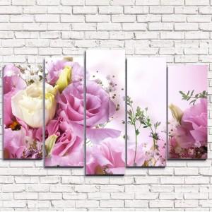 Модульная картина Розовый букет 5-1