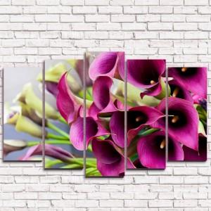 Модульная картина Цветочное бордо 5-1