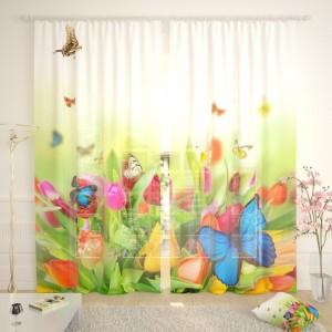 Фототюль Бабочки на цветах