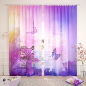 Фототюль Фиолетовые бабочки