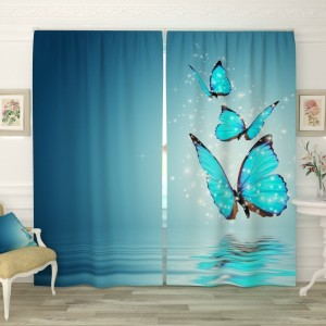 """Фотошторы """"Голубые бабочки над водой"""" блэкаут 280х235"""
