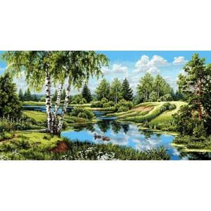 """Гобеленовое Панно """"Пейзаж с утками"""" (135х70)"""