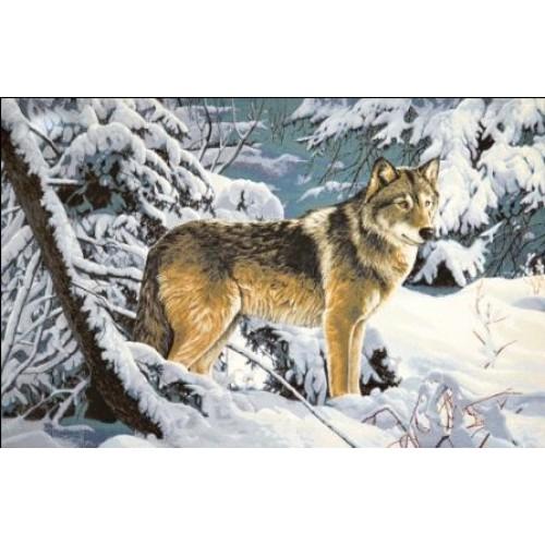 """Гобеленовое Панно """"Волк в лесу"""" (108х70)"""