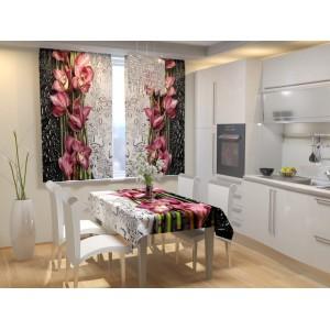 Фотошторы для кухни Цветы после дождя