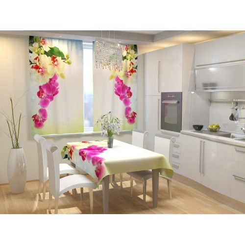 Фотошторы для кухни Веточка орхидеи