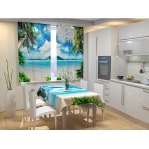 Фотошторы для кухни Остров мечты