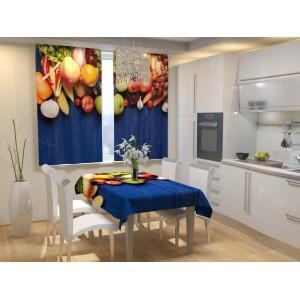 Фотошторы для кухни Фруктовый забор