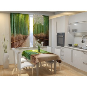 Фотошторы для кухни Бамбуковый лес