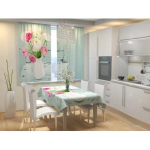 Фотошторы для кухни Нежное цветочное ассорти