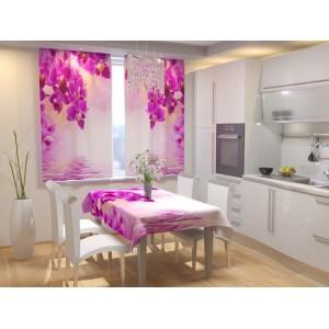 Фотошторы для кухни Розовые орхидеи 2