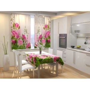 Фотошторы для кухни Букет алых роз