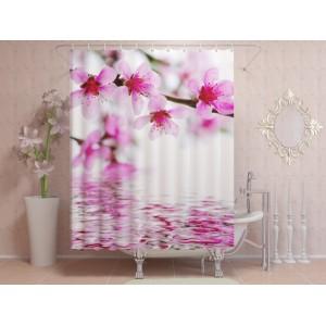 Фотоштора для ванной Яркие цветы на воде