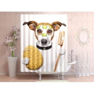 Фотоштора для ванной Собака в ванной