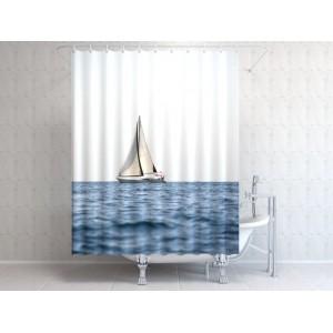 Фотоштора для ванной Яхта