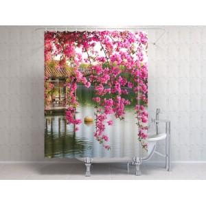 Фотоштора для ванной Цветы в китайском парке
