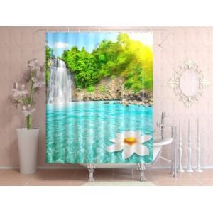 Фотоштора для ванной Райский уголок