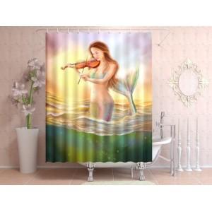 Фотоштора для ванной Русалка со скрипкой