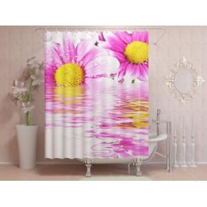 Фотоштора для ванной Цветы в росе