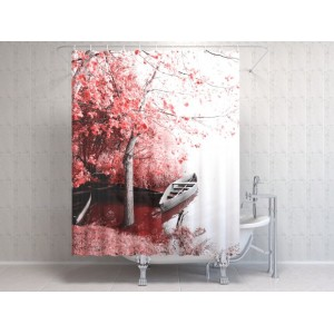 Фотоштора для ванной Сакура у озера