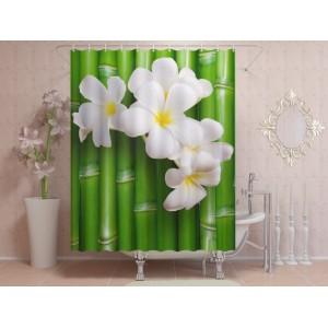 Фотоштора для ванной Цветы на бамбуке