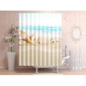 Фотоштора для ванной Теплый пляж