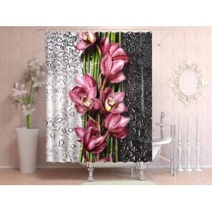 Фотоштора для ванной Цветы после дождя