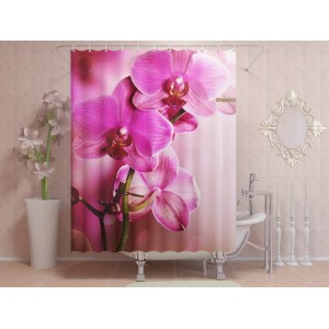 Фотоштора для ванной Розовая орхидея