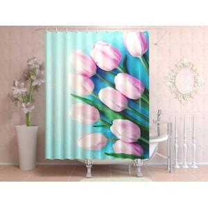 Фотоштора для ванной Свежие тюльпаны