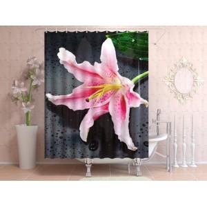 Фотоштора для ванной Розовый цветок