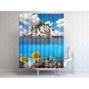 Фотоштора для ванной Скала в океане